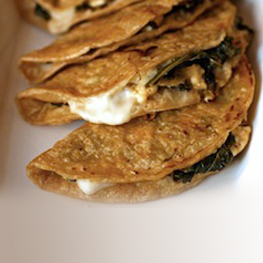 Quesadillas Stuffed with Feta and Greens